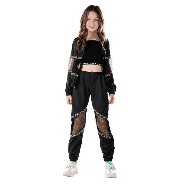 Conjunto infantil menina jaqueta e calça corta vento preto