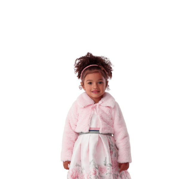Bolero infantil Petit Cherie inverno de pelinho rosa