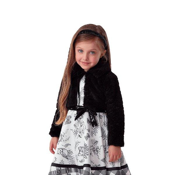 Bolero infantil Petti Cherie inverno de pelinho preto