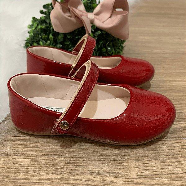 Sapato infantil boneca verniz vermelho Xuá Xuá tamanho 21