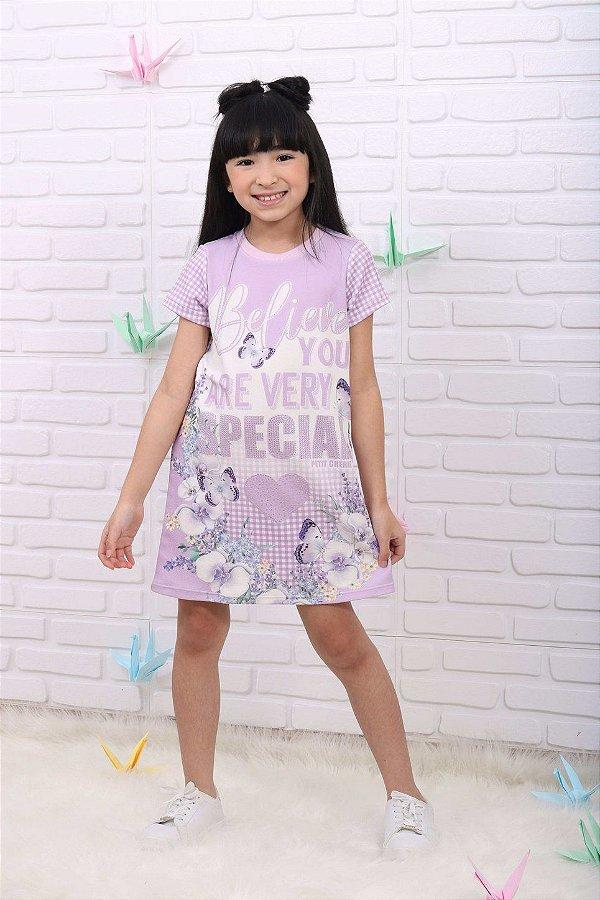 Vestido infantil Petit Cherie casual verão borboleta lilás