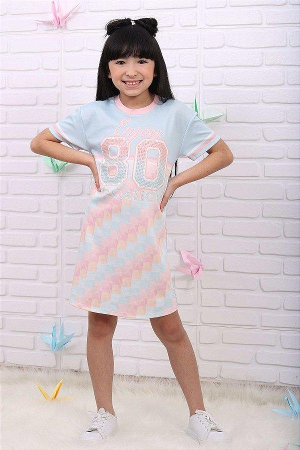 Vestido infantil Petit Cherie casual verão azul e rosa candy