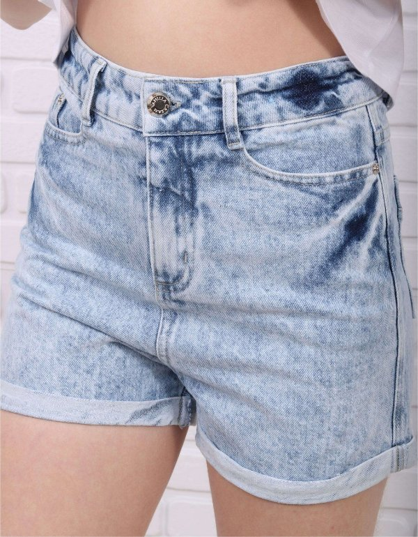 Short jeans teen Vanilla Cream cintura alta margarida
