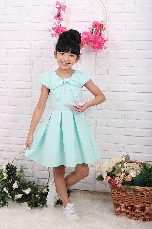 Vestido infantil Mon Sucré liso verde água tiffany