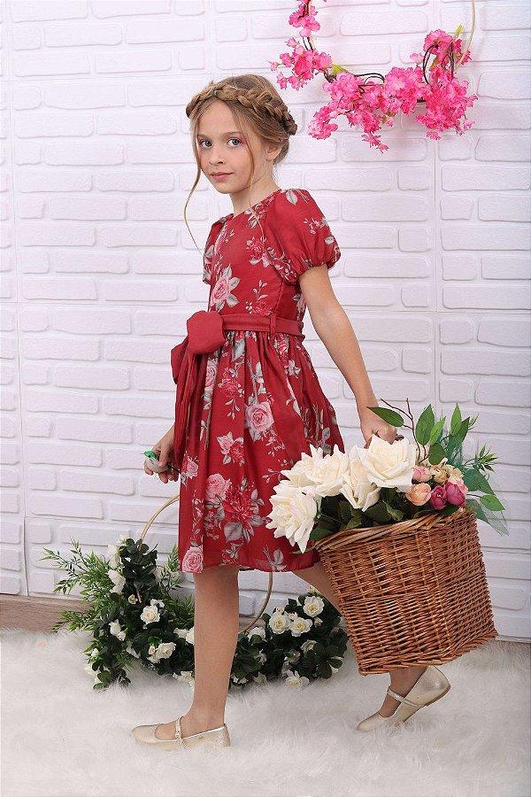 Vestido de festa infantil Petit Cherie floral vermelho