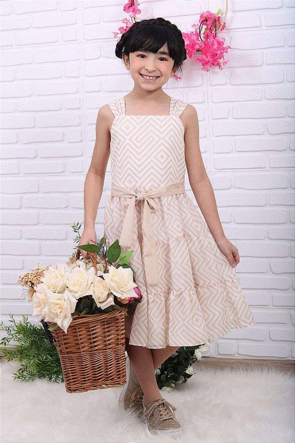Vestido de festa infantil Petit Cherie listrado off white dourado