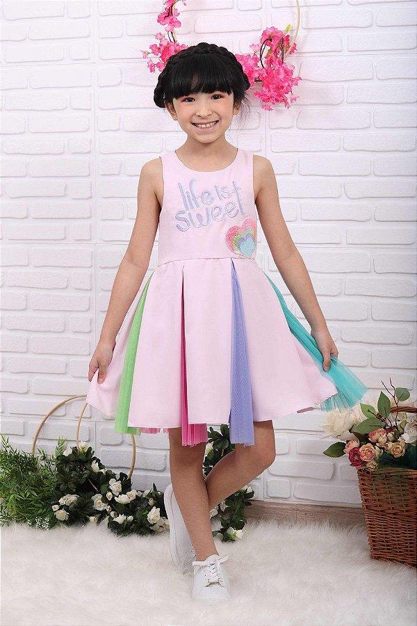 Vestido infantil de festa Mon Sucré candy color lilás