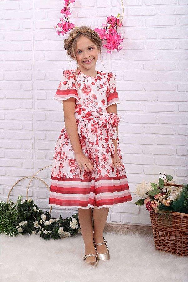 Vestido de festa infantil Petit Cherie floral off white vermelho