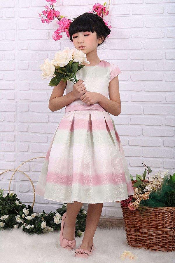 Vestido infantil de festa Petit Cherie candy color rosa e verde