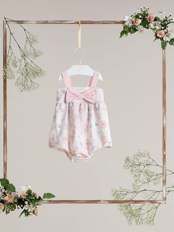 Macacão bebê Petit Cherie verão ursinha bailarina rosa