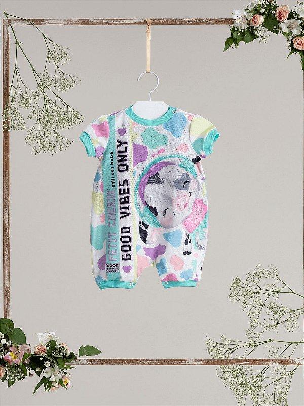 Macacão bebê Petit Cherie verão fazendinha vaquinha colorido
