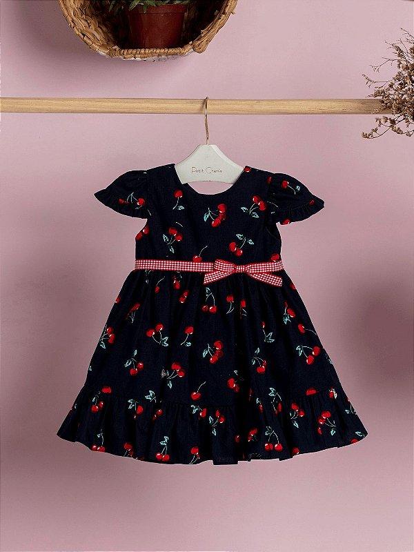 Vestido de bebê Petit Cherie cereja azul marinho e vermelho