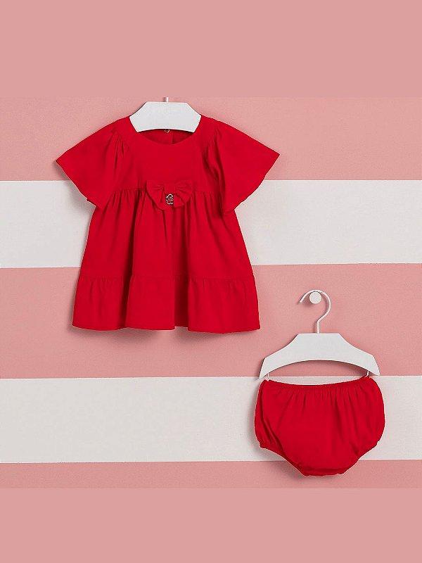 Vestido de bebê Mon Sucré viscose com calcinha vermelho