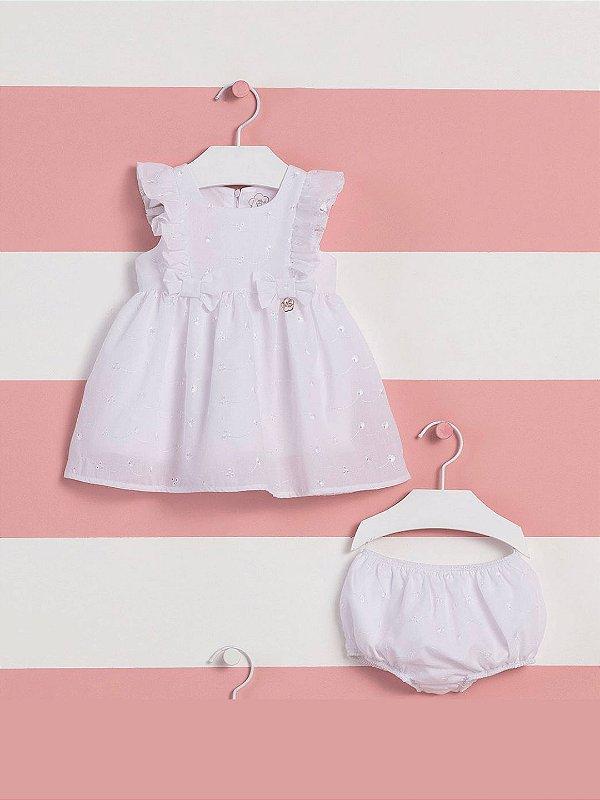Vestido de bebê Mon Sucré lesie com calcinha branco