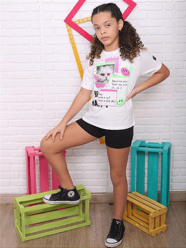 T-shirt teen Vanilla Cream gatinho tumblr branca