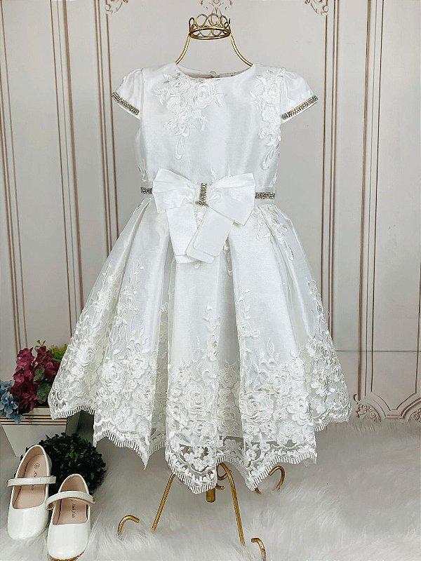 Vestido de festa infantil Petit Cherie daminha renda off white