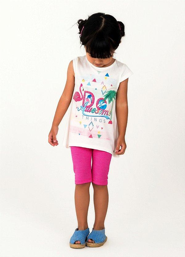 Conjunto Infantil Mon Sucré legging Flamingo Tamanho 3