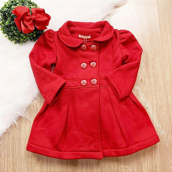 Casaco infantil Petit Cherie sobretudo moletom vermelho Tamanho 1