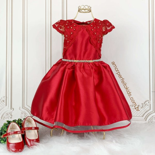 Vestido de festa infantil Petit Cherie com renda com strass vermelho