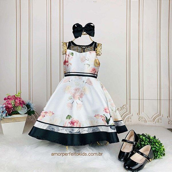 Vestido de festa infantil Petit Cherie floral com transparência off white e preto Tam 1