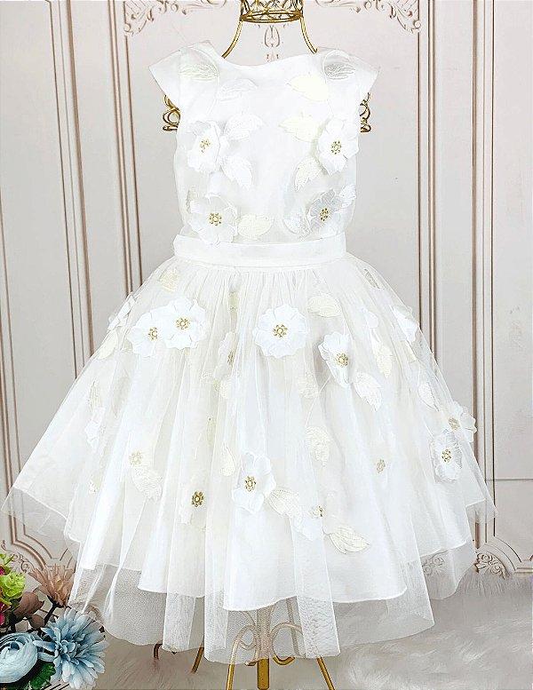 Vestido infantil Petit Cherie dama de honra flores 3D off white