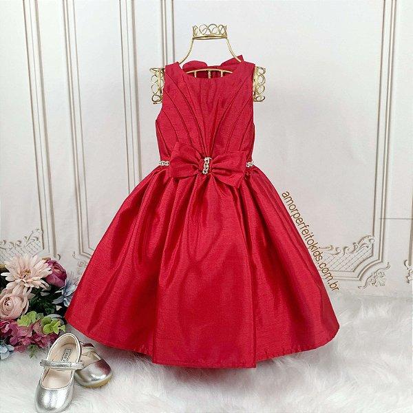 Vestido Infantil de Festa Petit Cherie Vermelho rodado com laço tamanho 1