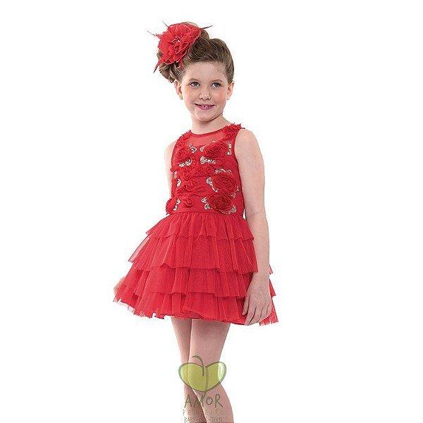 b5cee75220 VESTIDO INFANTIL PETIT CHERIE VERMELHO TULE RODADO - Amor Perfeito Kids