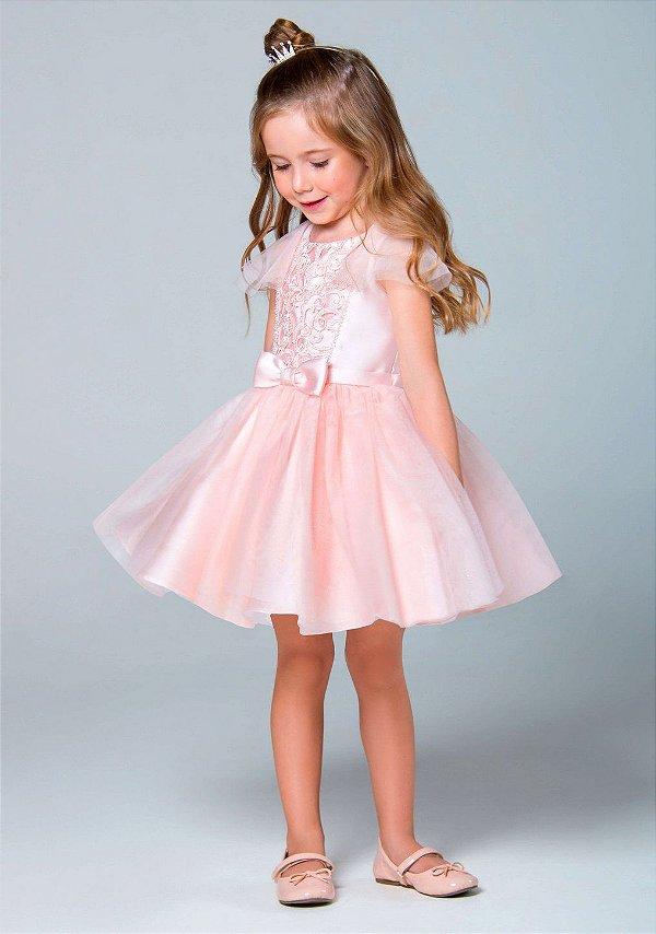 fa0ec19c0 Vestido de festa infantil Petit Cherie rodado princesa de manga com tule e  bordado