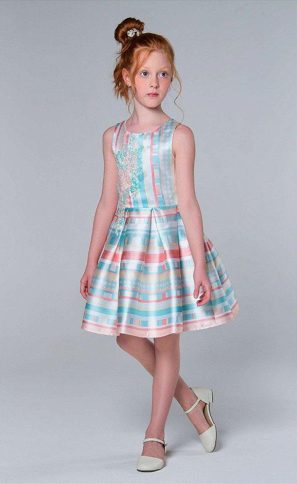 Vestido de festa infantil Petit Cherie com listras e formas geométricas com bordado e brilho