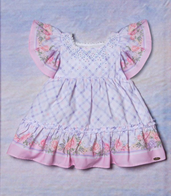 Vestido de bebê Petit Cherie xadrez com barrado floral lilás Tam P