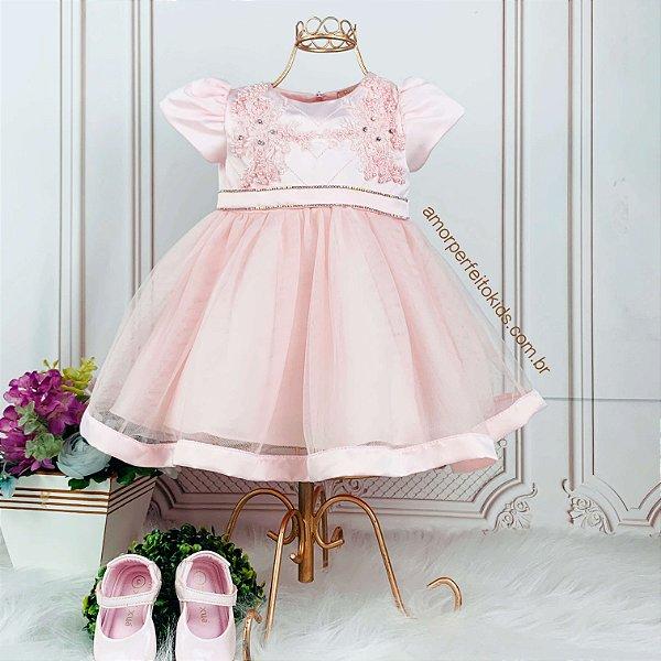 Vestido de bebê festa Petit Cherie com renda guipir pedrarias e tule luxo estilo princesa