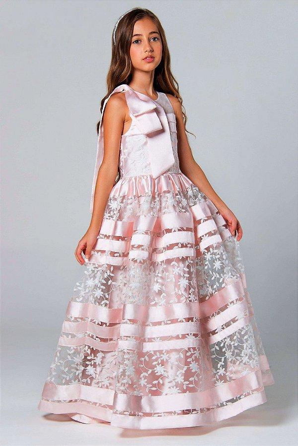 5cbed6a7b Vestido de festa infantil Petit Cherie longo conceito organza bordada luxo  dama de honra