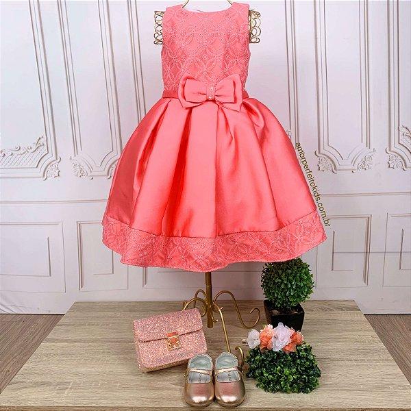 Vestido de festa infantil Petit Cherie luxo renda coral