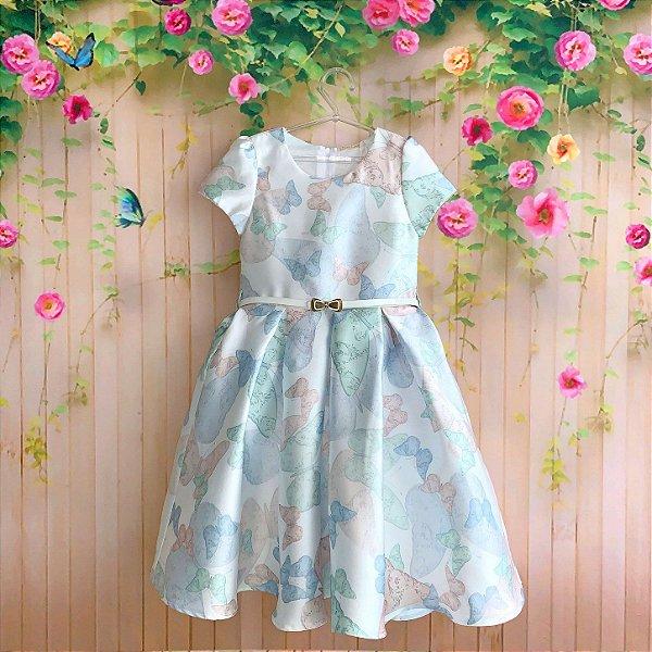 Vestido de festa infantil Petit Cherie borboletas jardim encantado com cinto