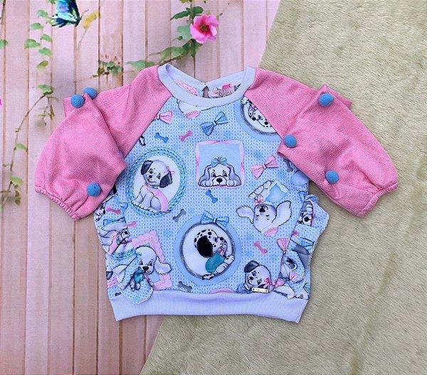 Blusa infantil Mon Sucré inverno moletom pets e pompons rosa e azul Tam 10