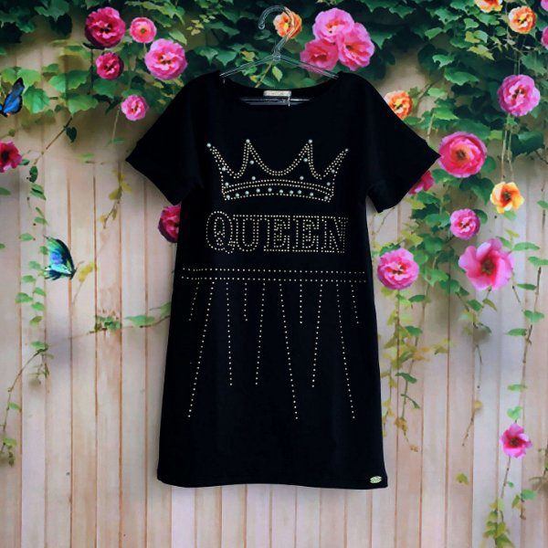 Vestido infantil Petit Cherie casual moletinho queen coroa com pérolas preto