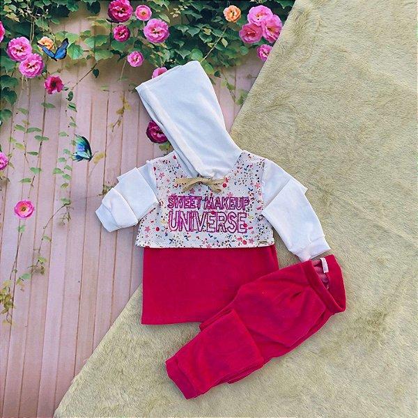 Conjunto Infantil Mon Sucré inverno blusa capuz calça plush pink Tamanho 2