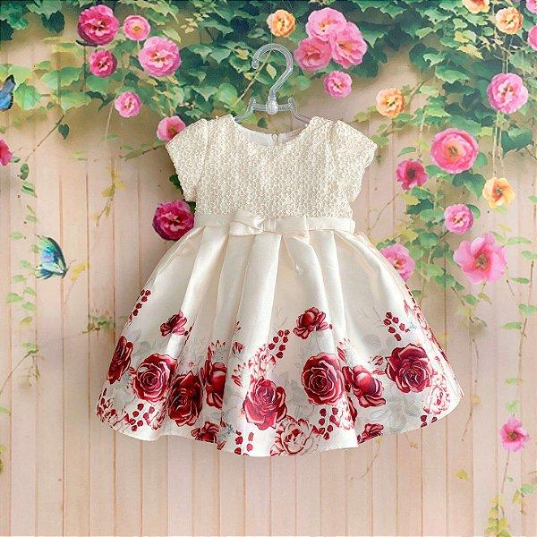 6a1505ca6 Vestido de festa bebe Petit Cherie floral com pérolas vermelho e off white