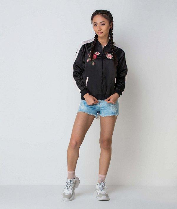 Jaqueta teen Vanilla Cream bomber com bordado nas costas preta tumblr tam 12