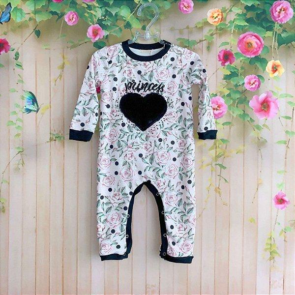 1e5411d8967 Macacão bebê Petit Cherie menina floral coração pelúcia rosa e preto ...