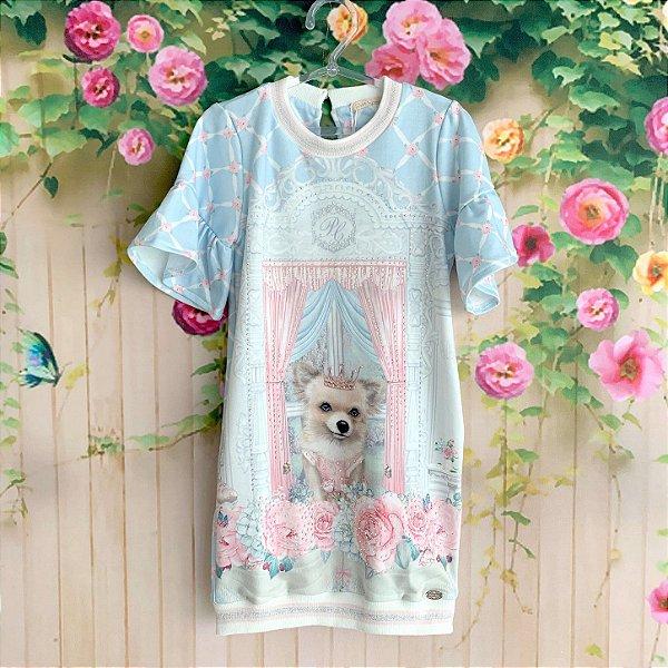 513dd18c3b5 Vestido infantil casual Petit Cherie cachorro e flores azul