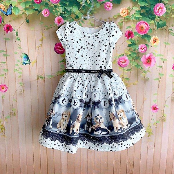 d152397af02 Vestido de festa infantil Petit Cherie cachorrinhos estrelas do rock off  white e preto