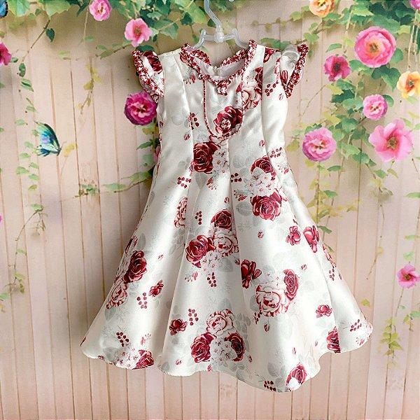 81b80c10b64 Vestido de festa infantil Petit Cherie luxo floral rosas vermelhas off white