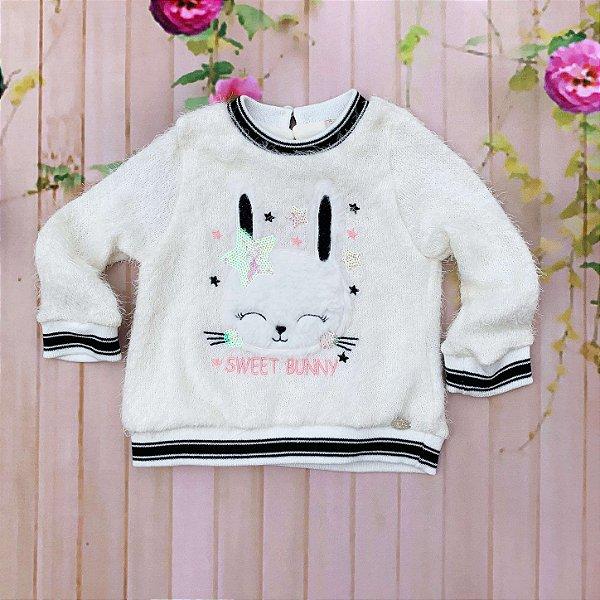 Blusa bebê Petit Cherie inverno pelinho coelhinha off white Tamanho G