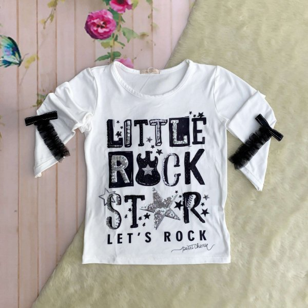 Blusa infantil Petit Cherie manga longa little rock star off white