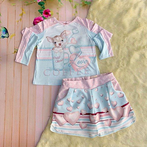 378776b6a Conjunto infantil Petit Cherie inverno menina cachorrinho com short coração  azul e rosa