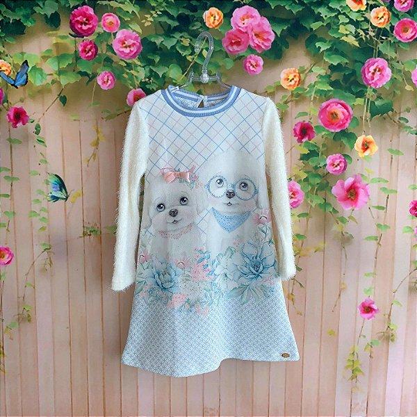 dd9c40727 Vestido infantil Petit Cherie casual inverno cachorrinho com brilho manga  felpuda azul