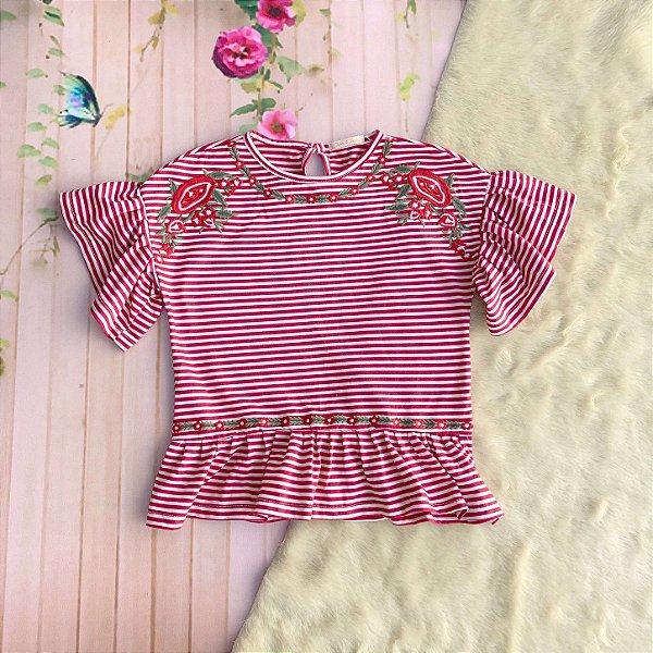 Blusa infantil Petit Cherie manga curta babadinho listrada bordada flores vermelho Tam 10