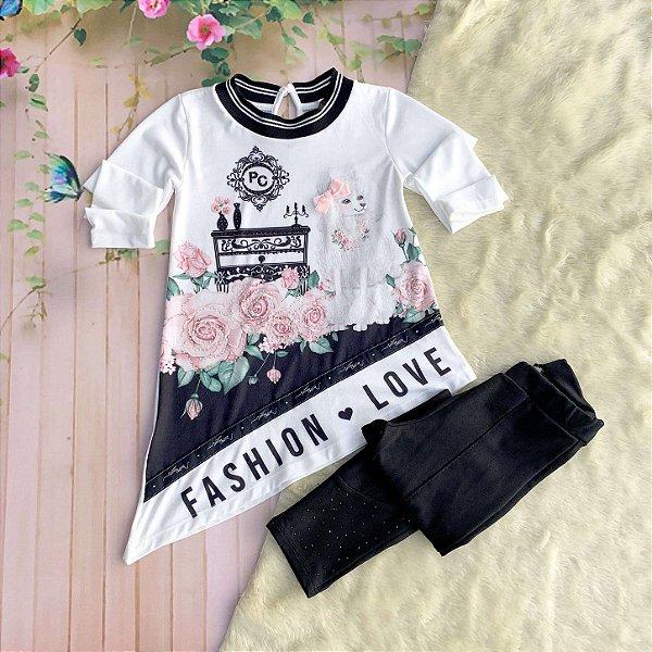 Conjunto infantil Petit Cherie inverno blusa fashion love calça montaria preto e branco Tam 3