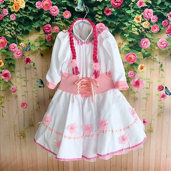 Vestido de Festa Junina infantil noivinha com tiara tam 8